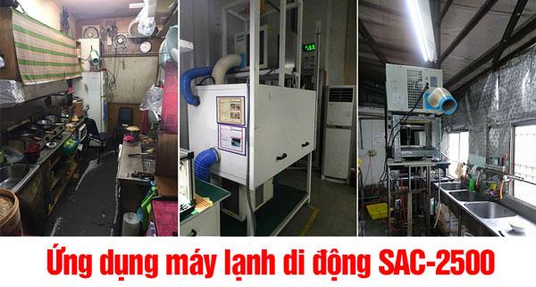 ứng dụng máy lạnh di động sac-2500